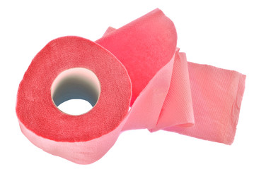 the roll of pink toilet paper
