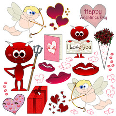 Valentines Cartoon Page Set - Isolated On White