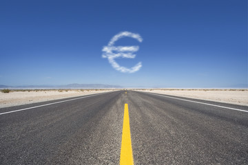 Dollar sign cloud hovering over remote desert road