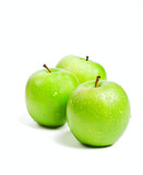 three fresh green granny smith apples isolated on white poster