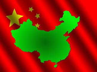 china map on rippled flag illustration