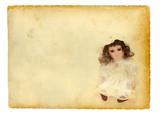 Old doll on vintage paper background poster