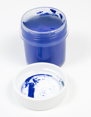 One open box blue gouache with wihte cover
