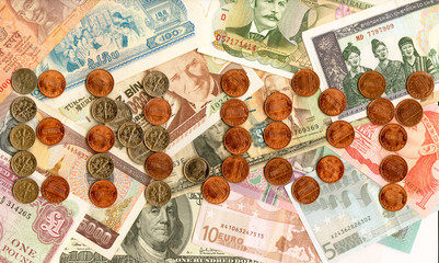Currencies and coins from around the world.