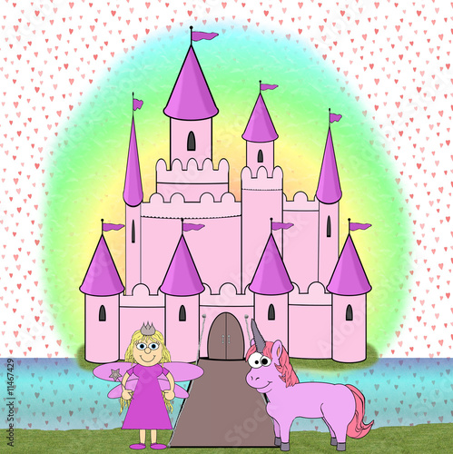 Foto op Aluminium Kasteel Fairytale Princess Cartoon Scene