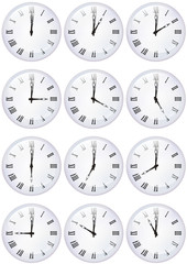 Collection d'horloges boule de cristal heure par heure
