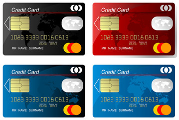 Set of credit card , highly detailed