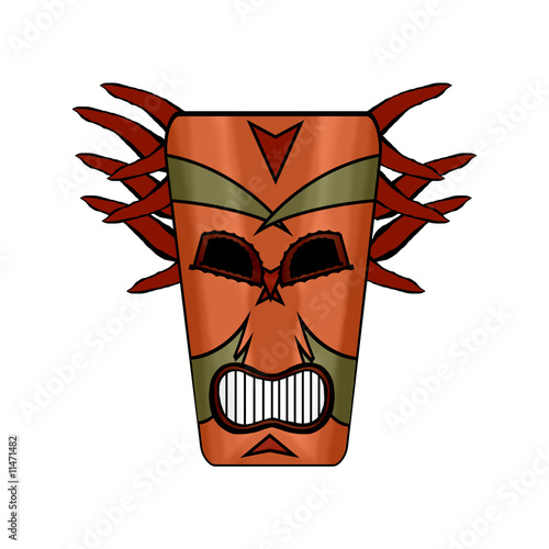 Paradise Island Witch Doctor Tribal Mask Cartoon Isolated
