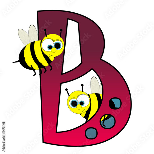 Alphabet - Letter B - With Bees Cartoon - Isolated On White
