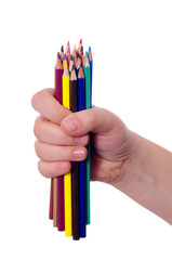 Hand with colored pencils
