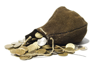leather sack and coins