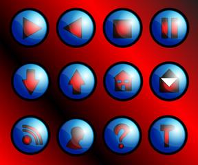 Web menu buttons on blue theme