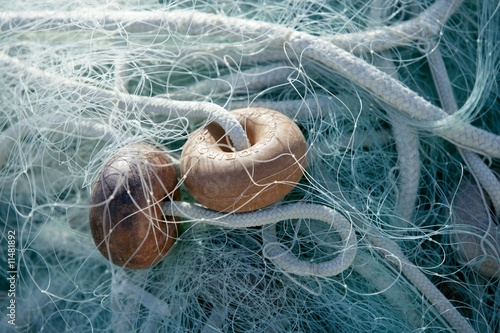 Fishing boat equipment detail: net, arts macro