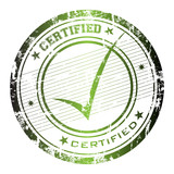Grunge rubber office stamp with the word certified poster