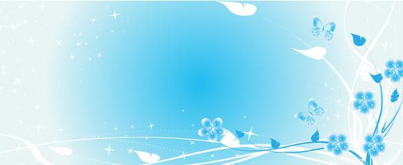 bandeau floral bleu et papillon étoile