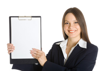 Buisiness woman holding a blank clipboard