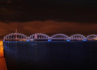 Red sky bridge river