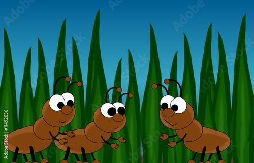 Ants In Grass Cartoon