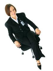 Caucasian Female Businesswoman Sit On Chair