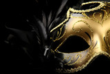 ornate carnival mask over black silk background - 11494837