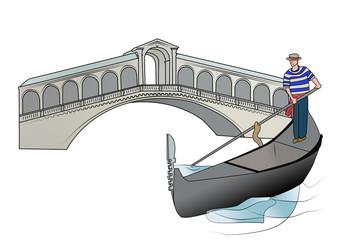 ponte di rialto e gondoliere - venezia - veneto - italy