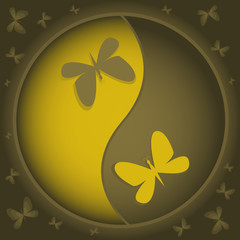 Gold yin-yang symbol with butterflies