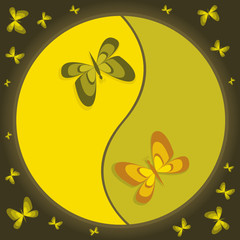 Yin-yang symbol with butterflies
