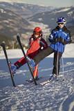Fototapeta Kids posing on the ski