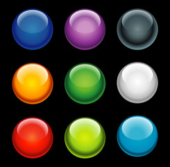 Balls buttons with 3D effect on black background