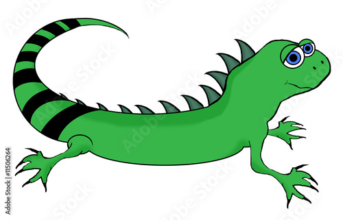 Iguana Cartoon - Isolated On White