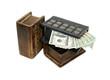 Stack of money hidden in book