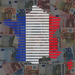 French workforce map on euros