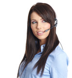 Customer support woman with headset