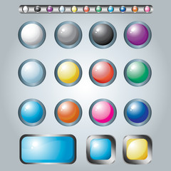 Set of multicolored button for web design