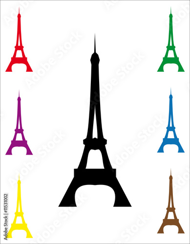Various colors of eiffel tower