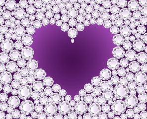 Purple heart on diamond background