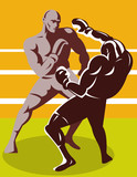 Boxer delivering a knocout punch poster
