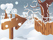 Vector winter landscape with arrow for your design