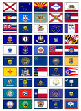US States Flag Button Poster