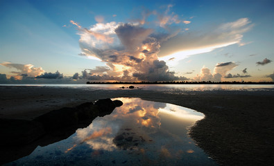 Sunset - reflection of clouds on water