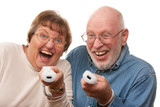Active Senior Couple Play Video Game with Remotes poster