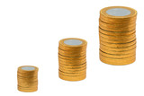 Increasing columns of coins poster