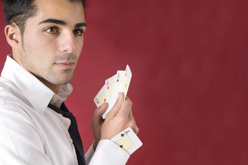 poker player with aces and an ace in his sleeve.