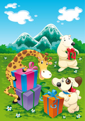 Animals and gifts with background