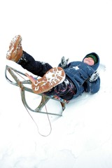 Winters riding of the boy