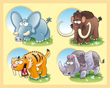 Prehistoric animals with background poster