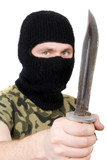Portrait of the killer with a knife. Focus on the knife poster
