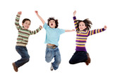 Fototapety Three happy children jumping at once