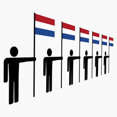 line of men with Dutch flags