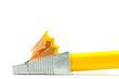 Anspitzer und Bleistift